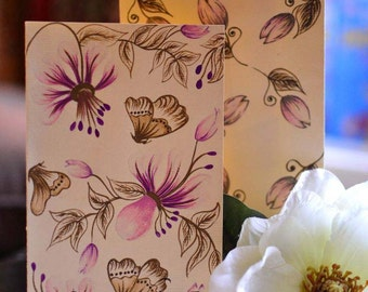 3 x Designed Hand Made Note Cards With Envelopes