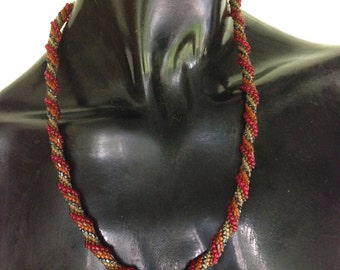 Red/Orange/Gold Bead Crochet Rope Necklace