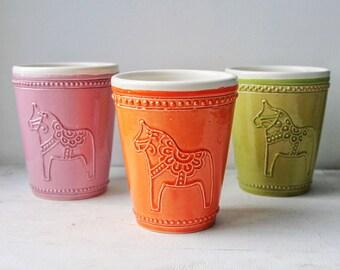 Handmade Pottery Latte Cup Dalahäst Dalecarlian Horse Sweedish Style