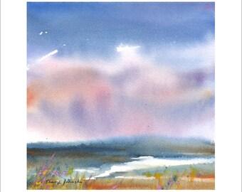 Watercolor Marsh Giclee Print - Coastal Art Watercolor - Small Seascape Watercolor - Marsh Clouds - Coastal Watercolor Print - MahiDesigns1
