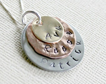Childrens Names Necklace Mixed Metal Necklace Hand Stamped Neckace Mother Necklace Layered Necklace