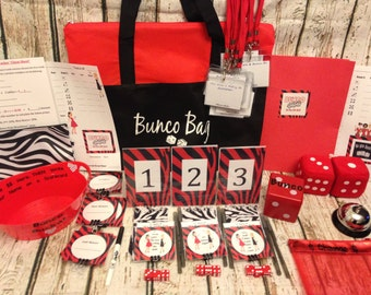 12 Person PREMIUM Bunco Game Starter Kit: Score cards, Name Tags, Dice, Custom Table Numbers and more!! Girls Night Out!