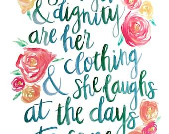 Strength & Dignity • Proverbs 31 Woman Art Print