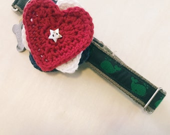Dog Collar Corsage - Handmade Crochet Red/White/Blue Hearts Pet Accessory - Patriotic Puppy; Dog Lover Gift