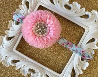Floral Elastic Headband, Pink Flower Headband, Hair Bows, Baby Headband, Toddler Headband, Child Headband, Flower Headband, Newborn Headband