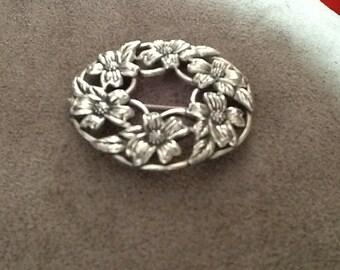 Sterling Silver Dogwood Circular Brooch by Danecraft