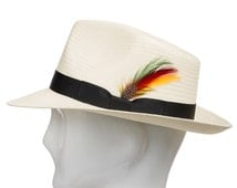 Fedora Gullport Classic Straw Panama Hat with Exotic Feather