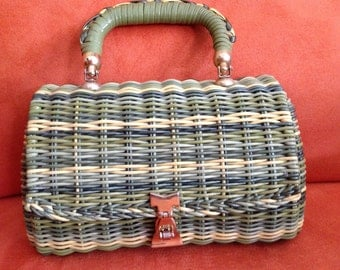 """1960's vintage woven straw green and yellow plastic handbag """" exclusively Sapphire Florida """""""
