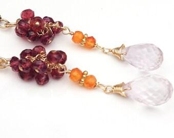 Garnet, Pink Amethyst and Carnelian Earrings--Amethyst Earrings--Garnet Earrings--Garnet Jewelry--Gemstone Earrings--Amethyst Jewelry