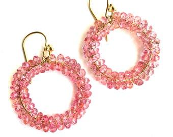Topaz Earrings--Pink Topaz Earrings--Pink Gemstone Earrings--Pink Topaz Jewelry