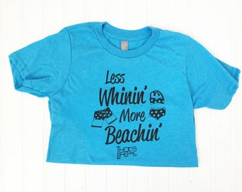 Size S (6/7) - Less Whinin' More Beachin' - Boys Youth T-Shirt - Boys Apparel - Graphic Tee -Ready to Ship
