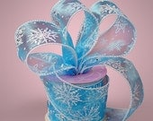"""Blue with White Snowflake 2-1/2"""" Wired Ribbon"""