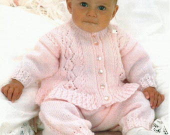 Original Beautiful Baby Double Knit Cardigan and Trousers Knitting Pattern.