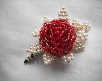 Wedding Bridal Races Ball Corsage Buttonhole Boutonniere Red Seed Bead Rose Flower & Faux Pearls