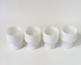 White milk glass cups set of 4