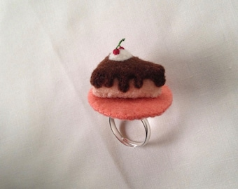 100 Percent Wool Felt Cake Slice Ring