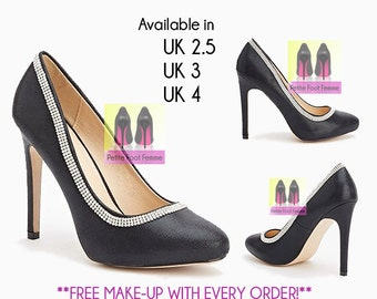 Diamante trimmed black high heels. UK Sizes 2.5, 3 & 4.