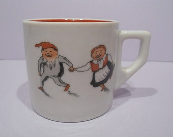 Vintage Porsgrund Norway Christmas Cup Mug Dancing Elves, Early Backstamp Circa 1911-1937, Norwegian Porcelain, Dancing Pixies