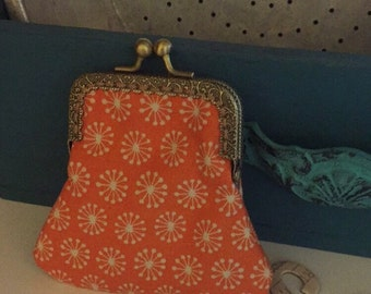 Coin Purse with Orange Floral Print