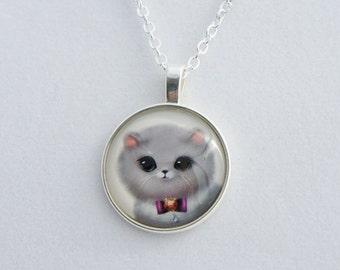 CAT glass cabochon pendant, Kawaii Necklace, Cute CAT Necklace, Girly pendant, Pink pendant,