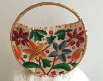 Vintage wicker embroidered purse