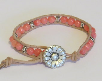 E-1713 Coral and silver leather wrap bracelet