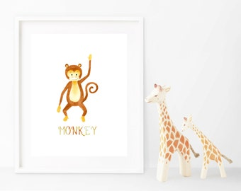 Monkey Wall Art Print, Baby Children Art, Watercolor Monkey 0013