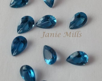 Blue Zircon  faceted 6 x 9mm pear