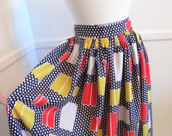 Mod 1960s Op Art Print Maxi Skirt--Small