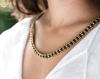 Triple Wrap Brown bracelet, Beaded Necklace,  N/B-5