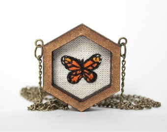 Hand embroidered Monarch butterfly necklace. Miniature embroidery