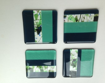 Fused Glass Coasters, set of 4, confetti stripe design