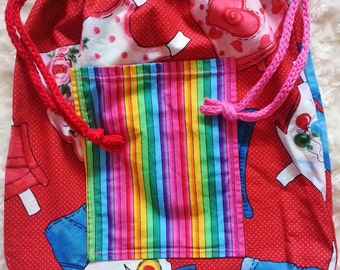 Girl's Drawstring Reversible PE Bag with Pockets Doll's Clothes & Stripes