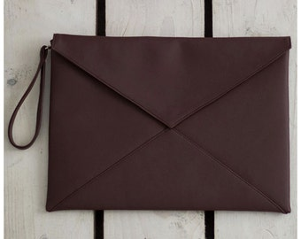 "Clutch Handbag / purse / Vegan Leather Clutch/ ""Chocolate  """
