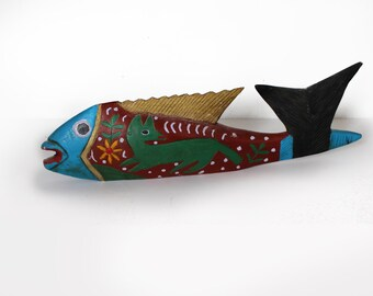 "20"" Carved Wood Painted Fish"