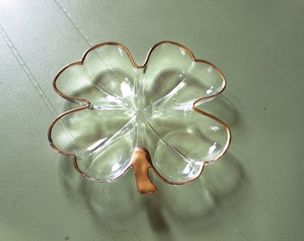 Vintage Glass Four Leaf Clover Tray