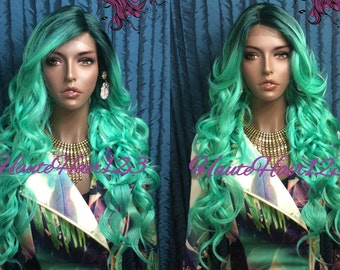 MutiTone Green Ombre MultiParting Realistic Lace Front Wig