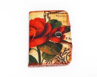Red Rose Card Case, Yellow Business Card Holder, Floral Printed Credit Card Case, Red Rose Wallet for Cards, Gift for Her, 4045