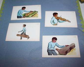 Vintage family flashcards - Vintage violin ephemera - Set of 4 cards