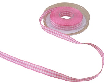 Gingham Check Cerise Pink White Ribbon 10mm *4 Lengths*
