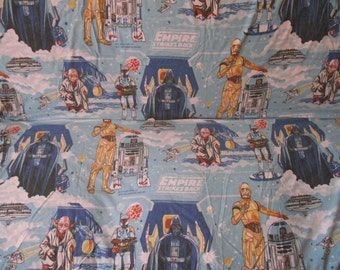 1979 Star Wars Empire Strikes Back Twin Flat Bed Sheet, Vintage Fabric by Black Falcon Limited