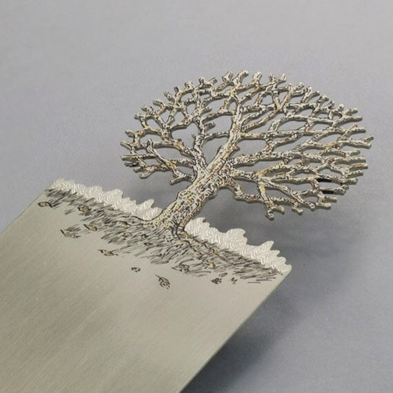 Handmade Silver Bookmark - The tree - Free shipping
