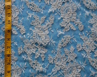 "Ivory Bridal French Alencon Lace 34"" wide-Sold/Priced by the 1/2 year"