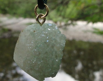 FREE SHIPPING Green quartz pendant necklace- satin cord necklace- free shipping