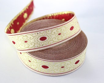 22 mm Red/white authentic Jacquard ribbon (0.86 inches) - woven ribbon, authentic ribbon - Sewing - Scroll Jacquard trim