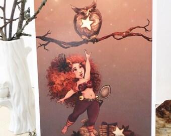 Print - Zimtsterne, Star spice, autumn fairy and OWL