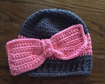 Gray/Pink Beanie