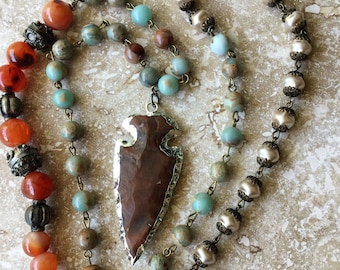 NATURAL!  Opal and Pearl Agate Arrowhead Pendant Necklace