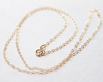 Gold Filled Cable Chain / 14k Gold Fill Finished Chain Necklace / 18 inch / Flat Cable Link / Wholesale Jewelry Supplies / Finished Chains