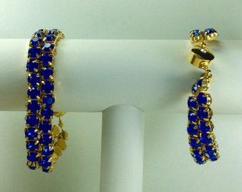 Capri Blue Glitterati Bracelet - Swarovski Crystals, Magnetic Clasp, Gold Plate